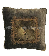 Luxury Accent Pillow with Jeweled Medallion and Tassels