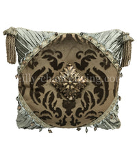 Luxury Accent Pillow with Jeweled Medallion