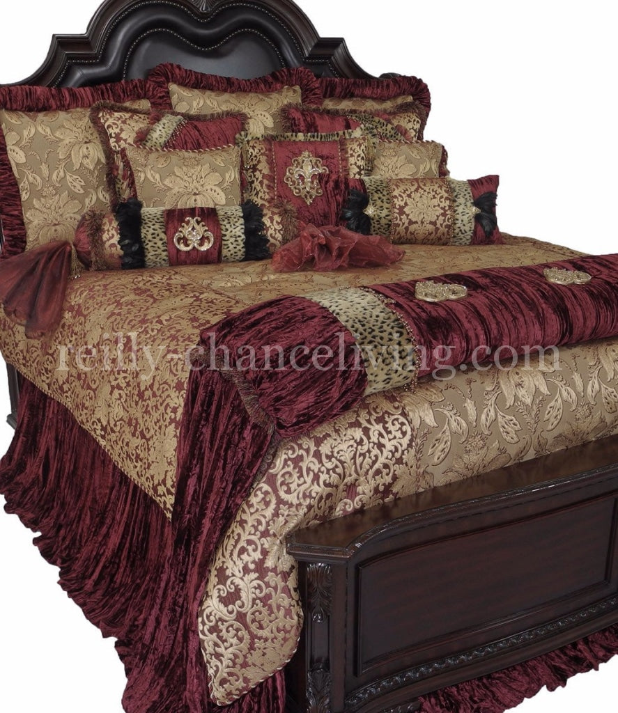 Luxury_Bedding-burgundy-gold-velvet-bedding-burgandy-over_sized_bedding-old_world_bedding-reilly_chance_collection_grande