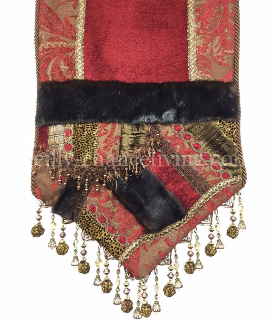 Luxury_table_runner-red_brown_chenille-faux_mink-beads-embellished-reilly_chance_collection