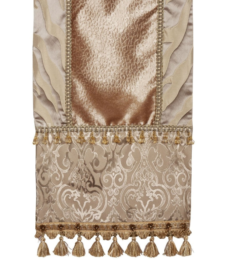Luxury_table_runner-grey_velvet-champagne_leopard-tiger-tassel_fringe-beads-old_world-reilly_chance_collection