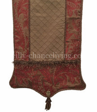 Chocolate Brown And Red Chenille Table Runner