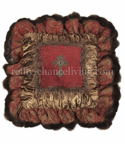 Red And Chocolate Brown Chenille And Velvet Square Ruffled Throw Pillow 18x18
