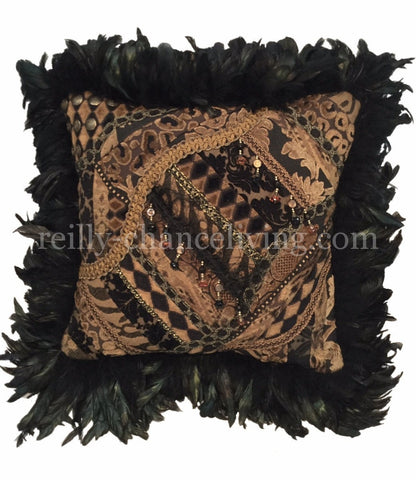 Black And Tan Chenille, Velvets And Leopard Pieced With Feathers Square Accent Pillow 20x20