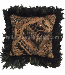 Luxury_accent_pillow-animal_print-black_feathers-embellished-reilly_chance_collection