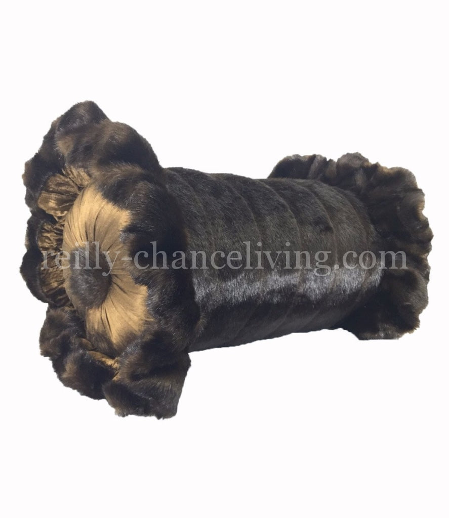 Luxury_accent_pillow-bolster-brown_faux_mink-ruffled-reilly-chance_collection_grande