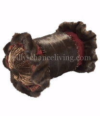 Luxury_accent_pillow-faux_mink-red-bolster-ruffled-beads-reilly_chance_collection