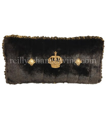 Luxury_accent_pillow-boxed_rectangle-brown_faux_mink-crown-swarovski_crystals-reilly_chance_collection