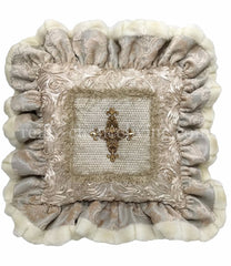 Luxury_accent_pillow-cream_faux_fur-ruffled-jeweled_cross-reilly_chance_collection