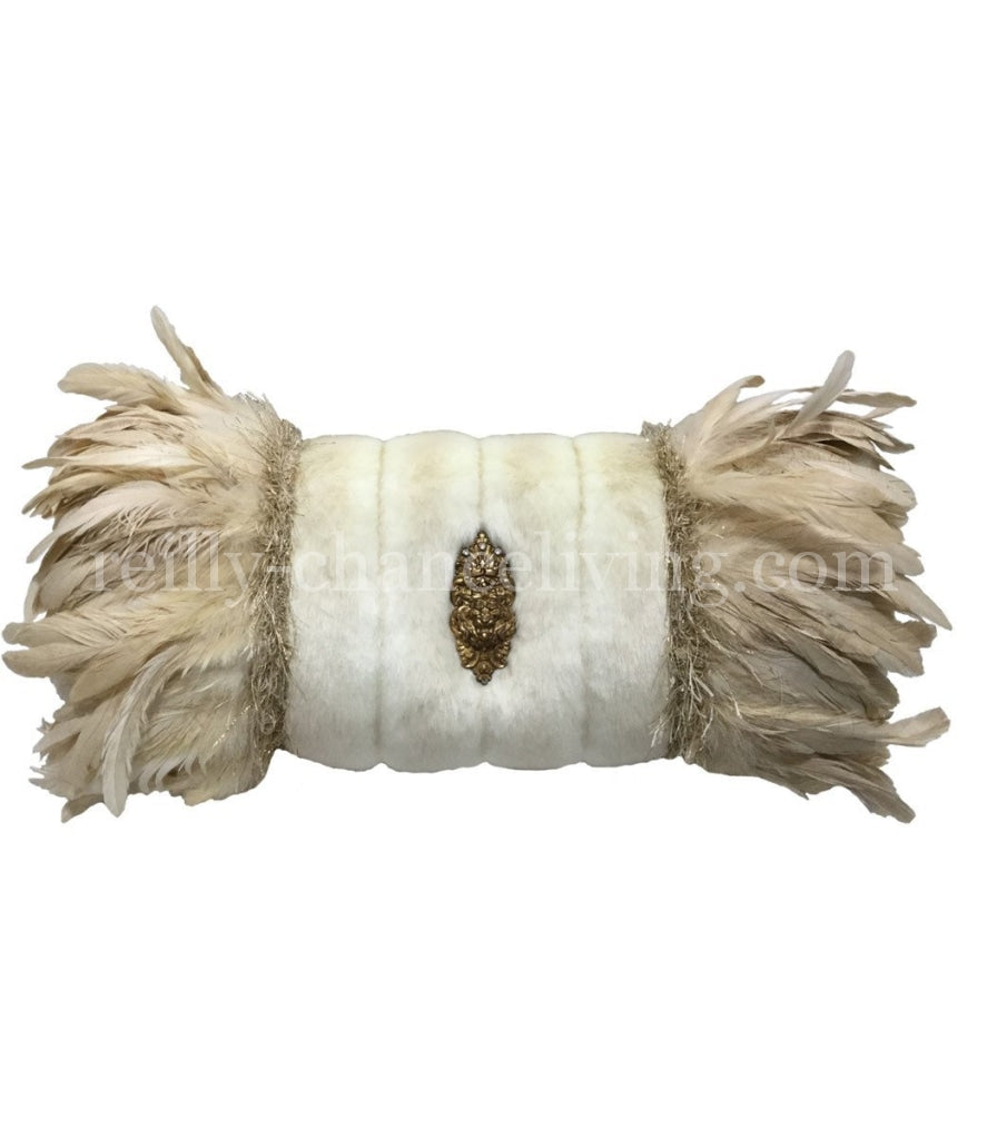 Luxury_decorative_pillow-cream_faux_fur-bolster-feathers-jewels-reilly_chance_collection