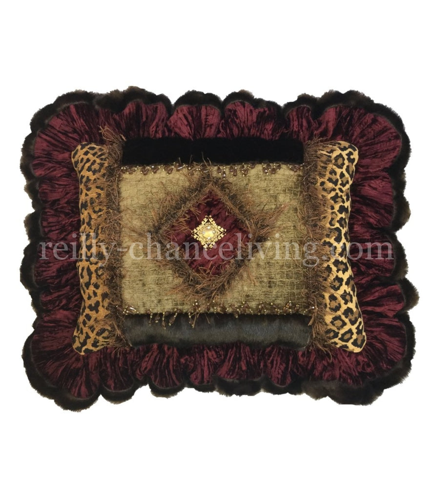 Ruffled Decorative Pillow Burgundy And Leopard Print 20X15
