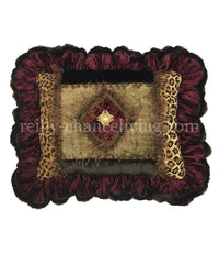 Ruffled Decorative Pillow Burgundy and Leopard Print 20