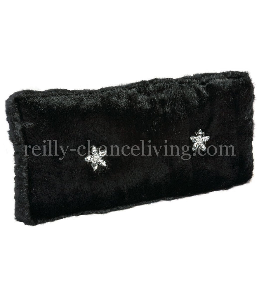 Luxury_accent_pillow-rectangle_black_faux_mink-crystals-reilly_chance_collection