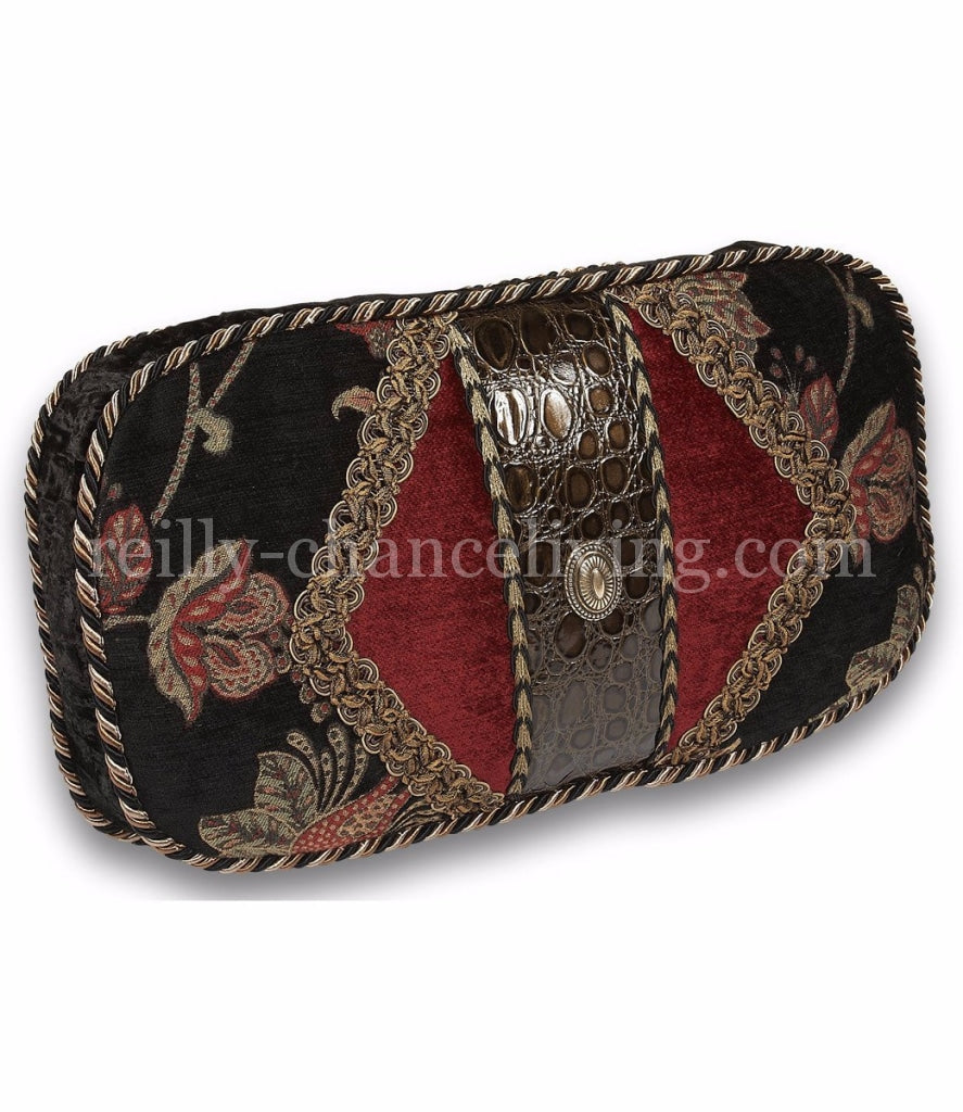 Luxury_accent_pillow-rectangle-black_floral-red_chenille-faux_leather-embellished-reilly_chance_collection