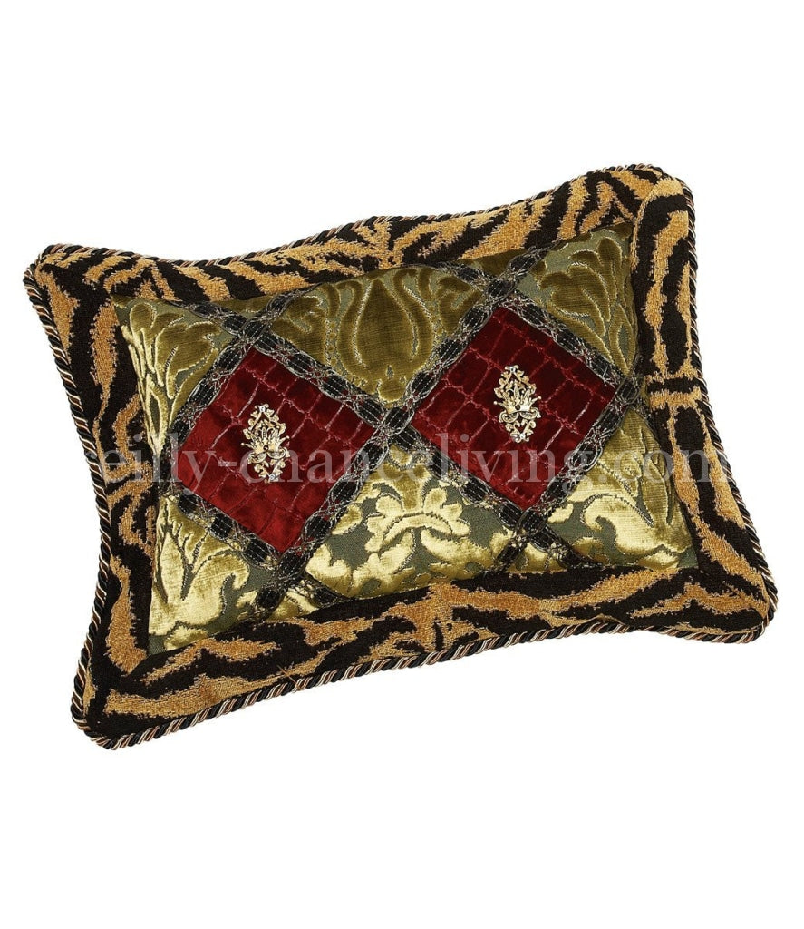 Luxury_accent_pillow-rectangle-tiger-green_velvet-red_croc-embellished-swarovski_crystals-reilly_chance_collection