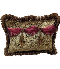 Accent Pillow Velvet Cheetah and Red Organza Rectangle with Jeweled Tassels 17x13