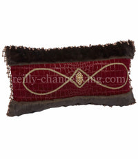 Red Velvet Croc And Faux Mink Rectangle Accent Pillow 20x14