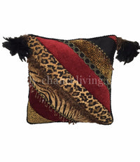 Animal Print Pieced Square Accent Pillow 15x15