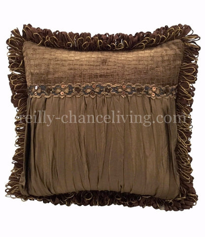 Caramel Silk And Croc Chenille Square Accent Pillow 18x18