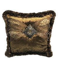 Designer Accent Pillow Bronze Velvet And Organza with Jeweled Medallion