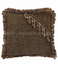 Chocolate Brown Tapestry And Velvet Beaded Square Accent Pillow 18x18