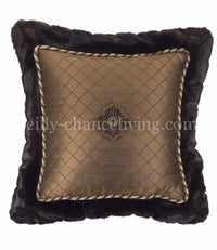 Chocolate Brown Embroidered Silk And Faux Mink Flanged Square Accent Pillow 18x18