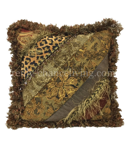 Autumn Chenille Small Pieced Square Accent Pillow 15x15