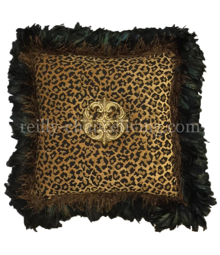 Leopard Chenille Square Accent Pillow With Feathers And Jeweled Medallion 21X21