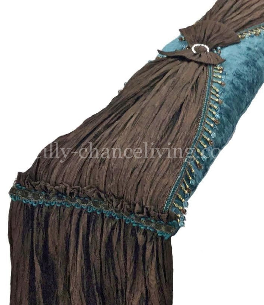 Luxury_bedding_pillow-turquoise_chenille-chocolate_faux_silk-beads-reilly_chance_collection
