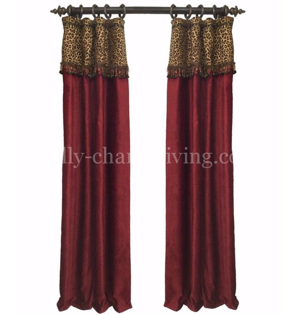 Luxury Curtain Panel Red Chenille Leopard Style 7 Karlye Reilly