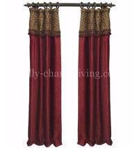 Luxury Curtain Panel Red Chenille Leopard Style#7 Karlye