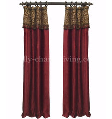 Luxury_curtain_panel-red_chenille-leopard-beads-reilly_chance_collection
