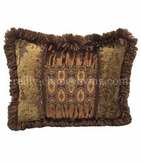 Bronze Gathered Velvet And Gold Cut Velvet Rectangle Accent Pillow 18x13