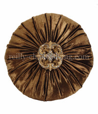 Decorative Pillow Bronze Velvet And Swarovski Jeweled Medallion Round 18