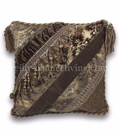 Bristol Caramel And Brown Pieced Square Throw Pillow 19x19