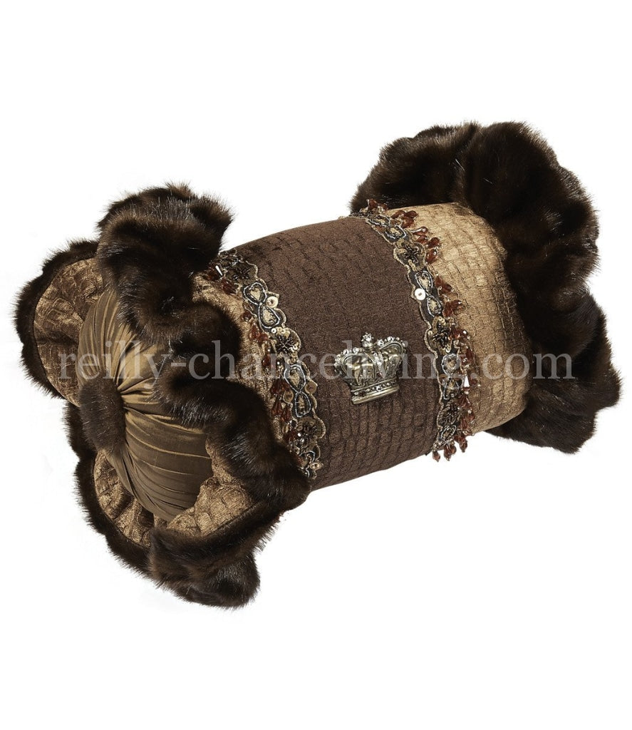 Luxury_decorative_pillow-chocolate_brown-tan-croc_chenille-ruffled-embellished-bolster-reilly_chance_collection