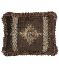 Decorative Accent Pillow Chocolate Croc Chenille Embellished Rectangle 18x14