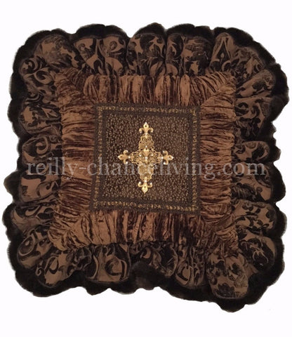 Chocolate Brown Chenille And Velvet Square Ruffled Accent Pillow 18x18