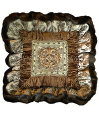 Decorative Pillow Taupe Chocolate Brown Ruffled Jeweled Medallion