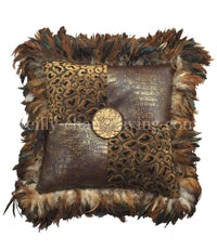 Decorative Pillow  Leopard Velvet Faux Croc with Feathers and Bling 20x20