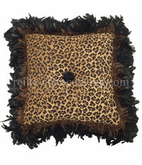 Leopard Chenille Square Accent Pillow With Feathers 21x21