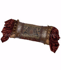 Luxury_decorative_pillow-oversized_rectangle-charcoal_tapestry-rust_velvet-beads-tassel_fringe-old_world-reilly_chance_collection