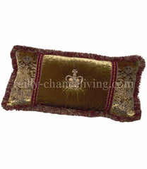 Luxury_decorative_pillow-oversized_rectangle-olive_green_velvet-swavorski_crystals-crown-bling-reilly_chance_collection