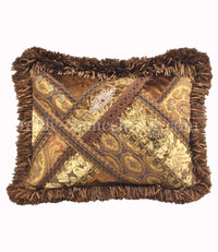Throw Pillow Bronze/Gold Velvet Faux Silk Pieced Rectangle  18x13