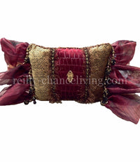 Red Croc with Velvet Cheetah Rectangle Accent Pillow 13x18