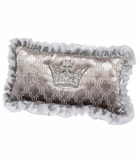 Silver Cut Velvet And Jeweled Crown Large Rectange Throw Pillow 28x14