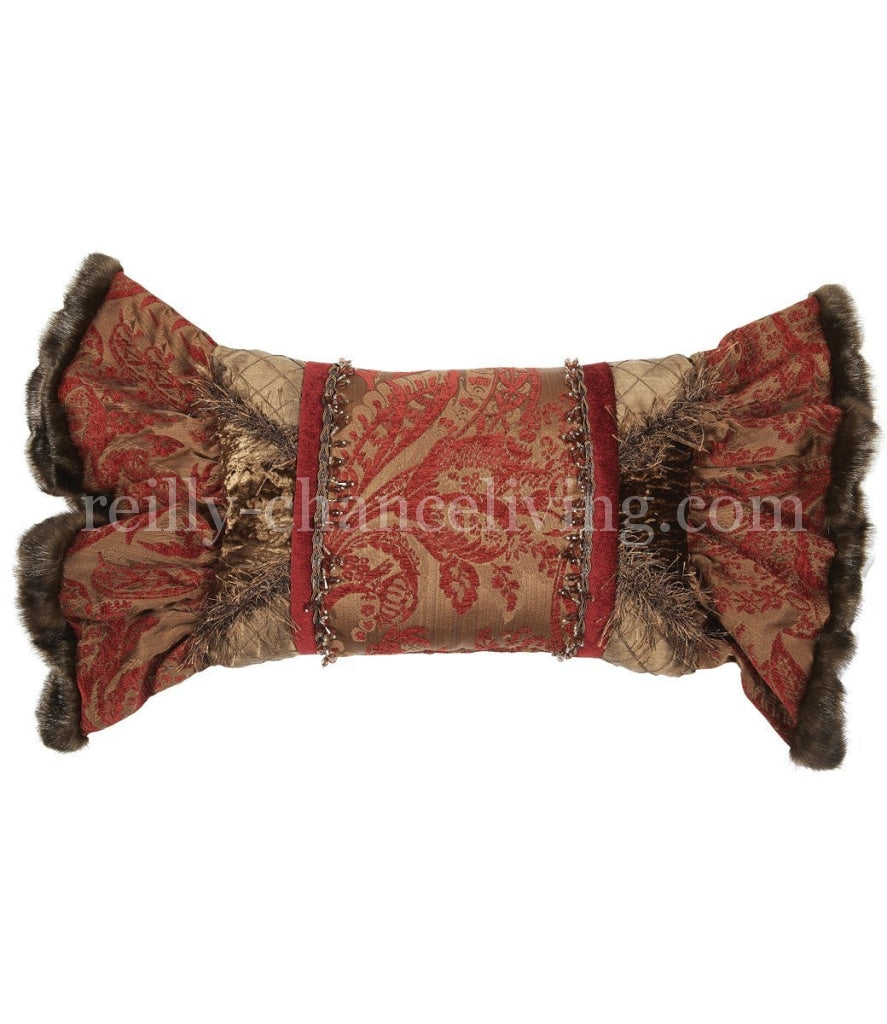 Luxury_decorative_pillow-rectangle-red-brown-chenille-velvet-ruffled-reilly_chance_collection