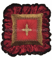 Red Velvet And Cheetah Ruffled Square Accent Pillow 18x18