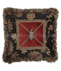 Luxury_decorative_pillow-square-red-black_floral-fringe-swarovski_crystals-reilly_chance_collection
