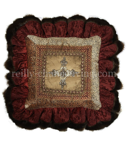 Burgundy Chenille And Velvet Cheetah With Jeweled Cross Square Ruffled Accent Pillow 18x18